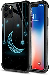 CARLOCA iPhone 11 Case,The Crescent Moon and Stars iPhone 11 Cases for Girls Unisex,Graphic Design Shockproof Anti-Scratch Hard Back Case for Apple iPhone 11