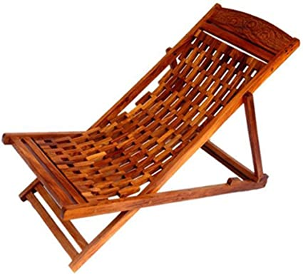 Batra Amazing Hand Carving Garden Wooden Easy Chair Sheesham Wood
