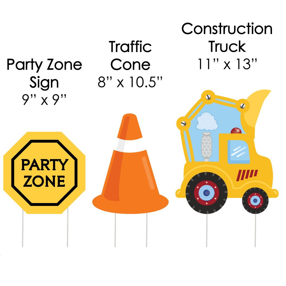 Construction Truck Zone Lawn Decorations Fire Engines Diagram Traffic Cone Outdoor Baby Shower Or Birthday Party Yard 10 Piece Health Personal
