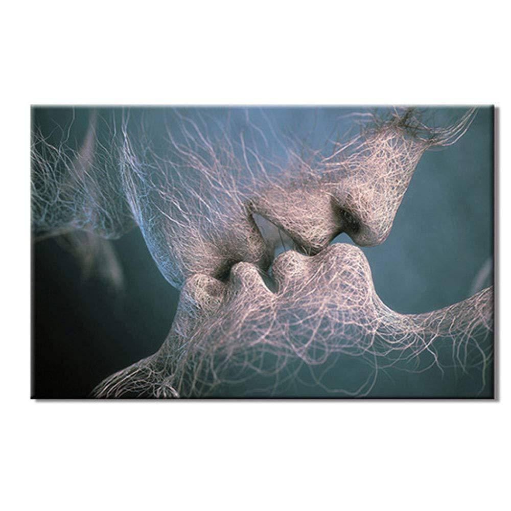 Dipinto ad Olio Dipinto a Mano - Quadro su Tela Picture-Abstract Kiss/Fantasy Modern Canvas Canvas Frameless Printing 100 × 200cm, A Comfot
