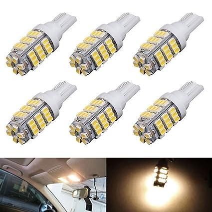 amazon com xt auto 6pcs super bright warm white t10 wedge 42 smdxt auto 6pcs super bright warm white t10 wedge 42 smd 3528 led light bulbs
