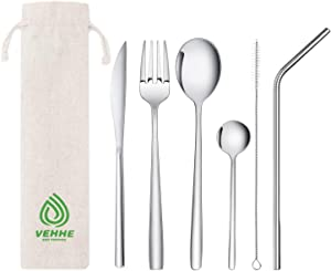 VEHHE Travel Utensils, Resuable Camping Cutlery Set 7-piece including Knife Fork Spoon Straws Cleaning Brush Carry Pouch, Stainless Steel Flatware Set for Office Lunch