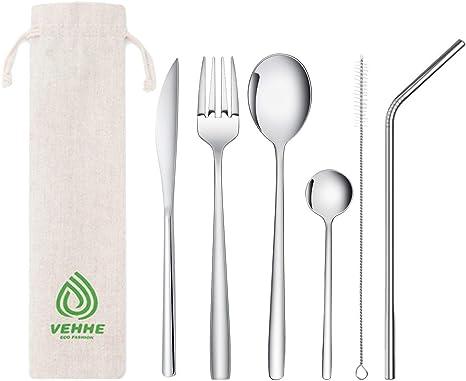 Silver Folding Spoon Fork Cutter Set Stainless Steel Camping Flatware GA