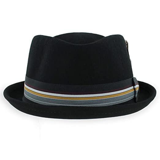 c9dcf348e9d Belfry Crushable Porkpie Fedora Men s Vintage Style Diamond Hat 100% Pure  Wool (Small