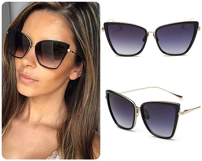 No Name Ltd Gafas de sol cuadradas negras para mujer Celeb ...