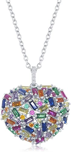 18 Inch 925 Sterling Silver Rose Plated Rainbow Colored Drop Cubic Zirconia Bar Necklace