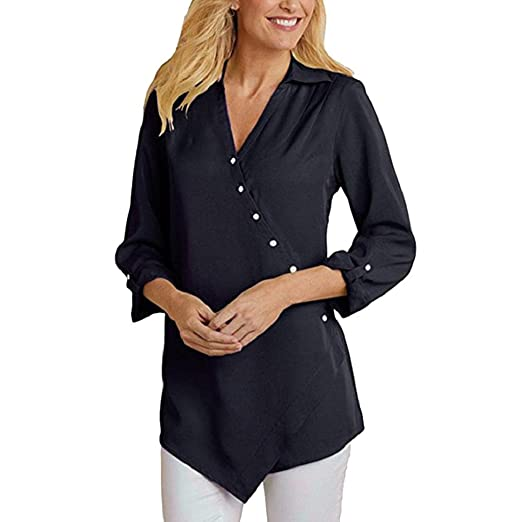 ae2b3b38781ab DOINSHOP Women Casual Chiffon Long Sleeve V-Neck ButtonT Shirts Loose Blouse  Summer Tops at Amazon Women's Clothing store: