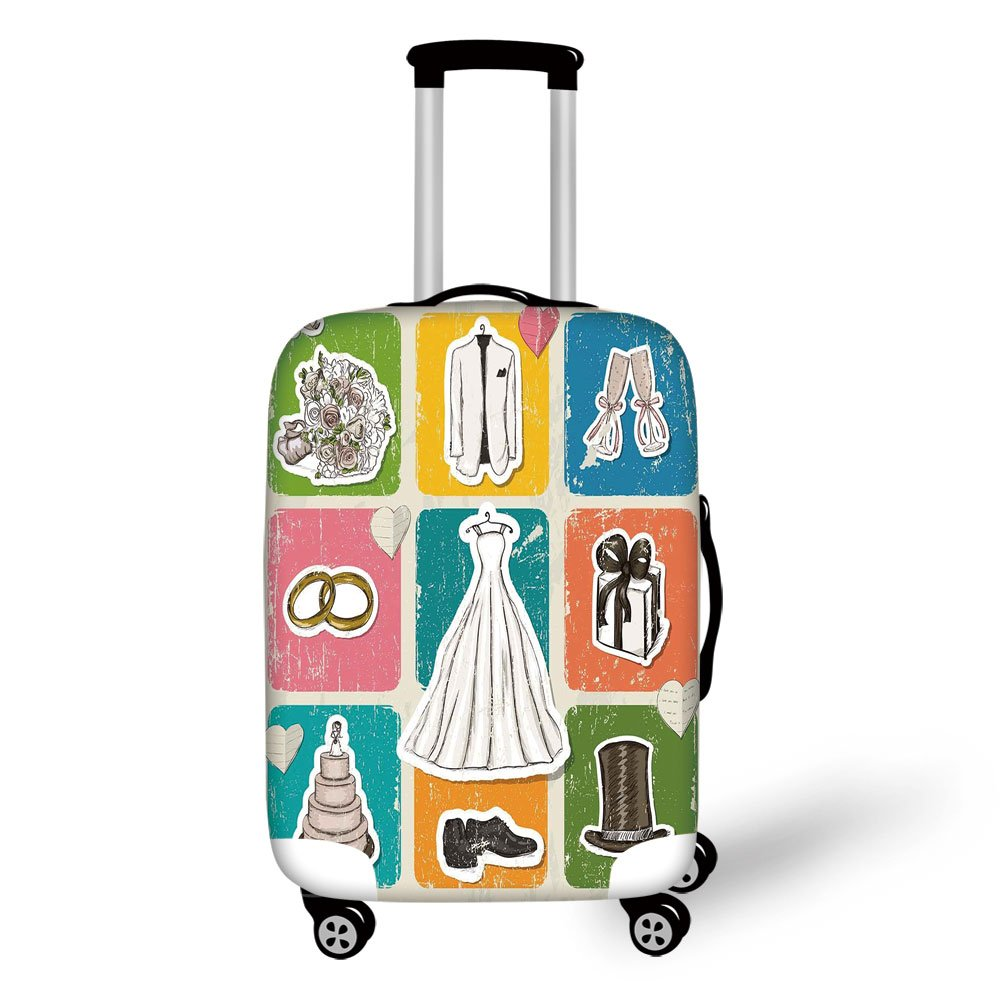 Travel Luggage Cover Suitcase Protector,Wedding Decorations,Vintage Poster Style Framework Wedding Collection Dresses Cake Flowers,Multicolor,for Travel