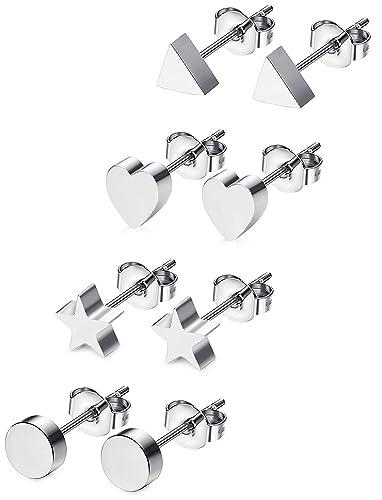 BESTEEL 4Pairs Stainless Steel Stud Earrings for Women Girls Men Triangle Heart Star Earrings Cute y8S3TtHAfR