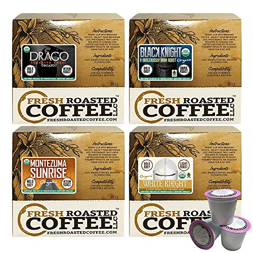 USDA Organic Artisan Blend Variety Pack Single-Serve Cups, 72 ct. of Single Serve Capsules for Keurig K-Cup Brewers, Fresh Roasted Coffee LLC.