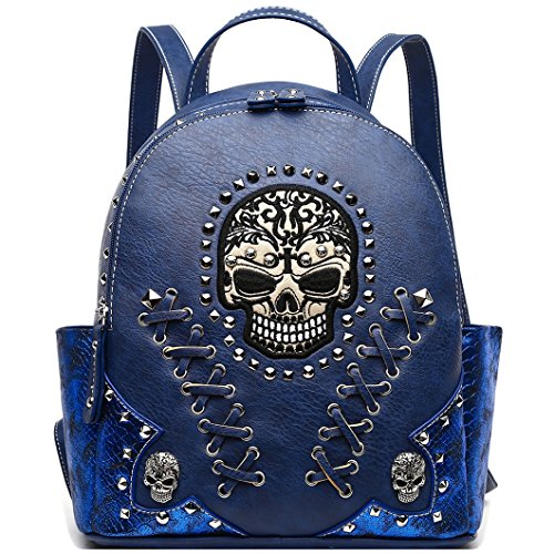 Sugar Skull Punk Art Rivet Studded Biker Purse Women Fashion Backpack Bookbag Python Daypack Shoulder Bag -