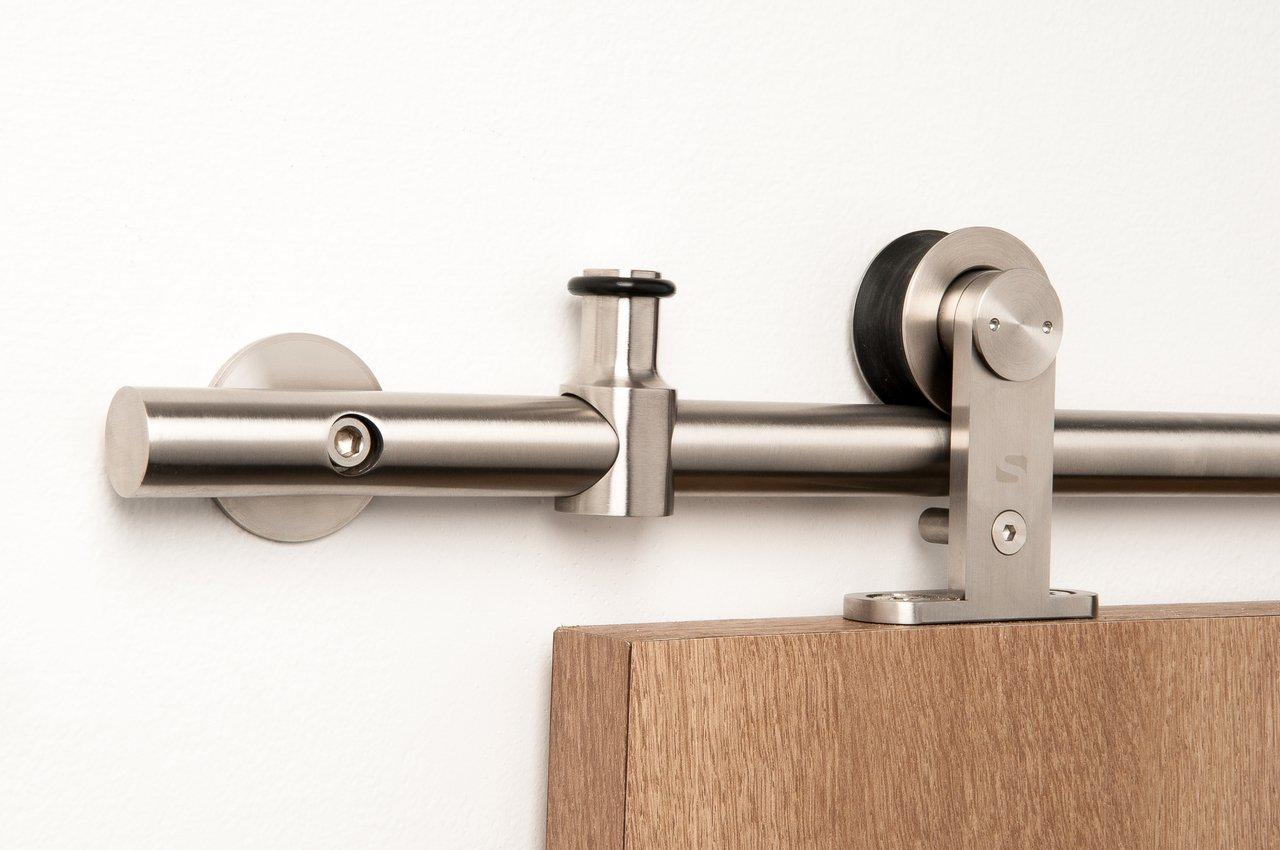 Double Door Set / Modern Stainless Steel Barn Door Hardware for Wood Doors / Satin Finish - Grand WT Series (10' Rail Length)