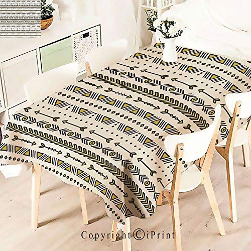 (Polyester Custom Tablecloth,Symbols Ethnic Style Art Tribal Collection for Buffet Table, Parties, Holiday Dinner, Wedding & More,)