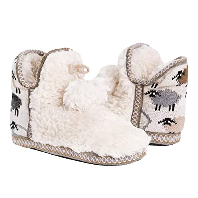 Womens Slip on Fuzzy Slipper Boots Indoor Outdoor House Slippers Fur Lined Knitted Poms Girls Ladies Winter Shoes | Slippers