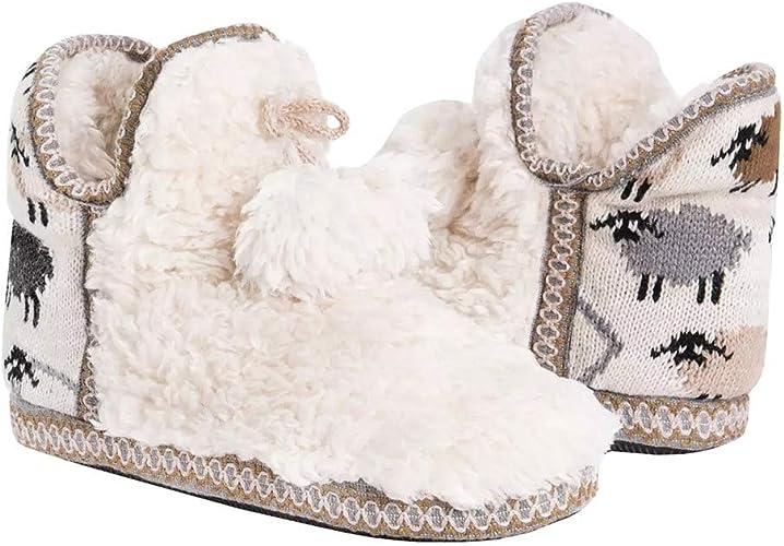 Fluffys HOLLY Ladies Womens Warm Comfy Soft Fur Cuff Slip On Mule Slippers Stone