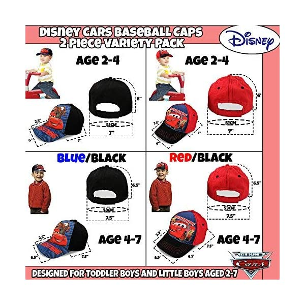 Disney Little Boys Assorted Character Cotton Baseball Cap, 2 Piece Design Set, Age 2-7