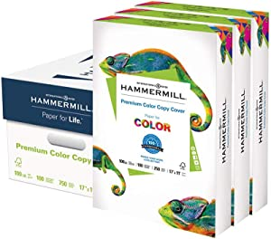Hammermill Premium Color Copy Cover 100lb Cardstock, 17 x 11, 3 Packs, 750 Sheets, Made in USA, Sourced From American Family Tree Farms, 100 Bright, Acid Free, Heavy-weight Printer Paper, 133202C