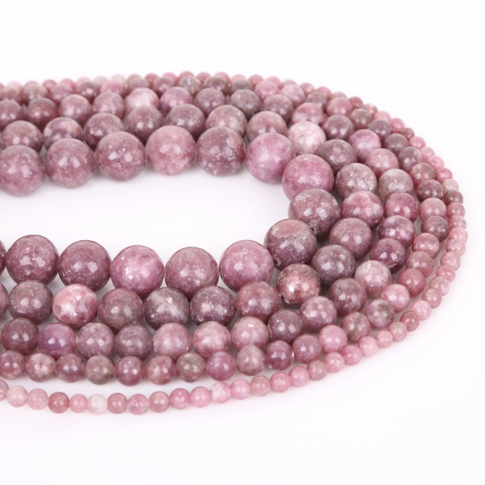 Natural Lepidolite Stone Beads Round Loose Spacer Bead For Jewelry Making 4/6/8/10/12mm 15'' DIY Bracelet&Necklace OperationCwrl