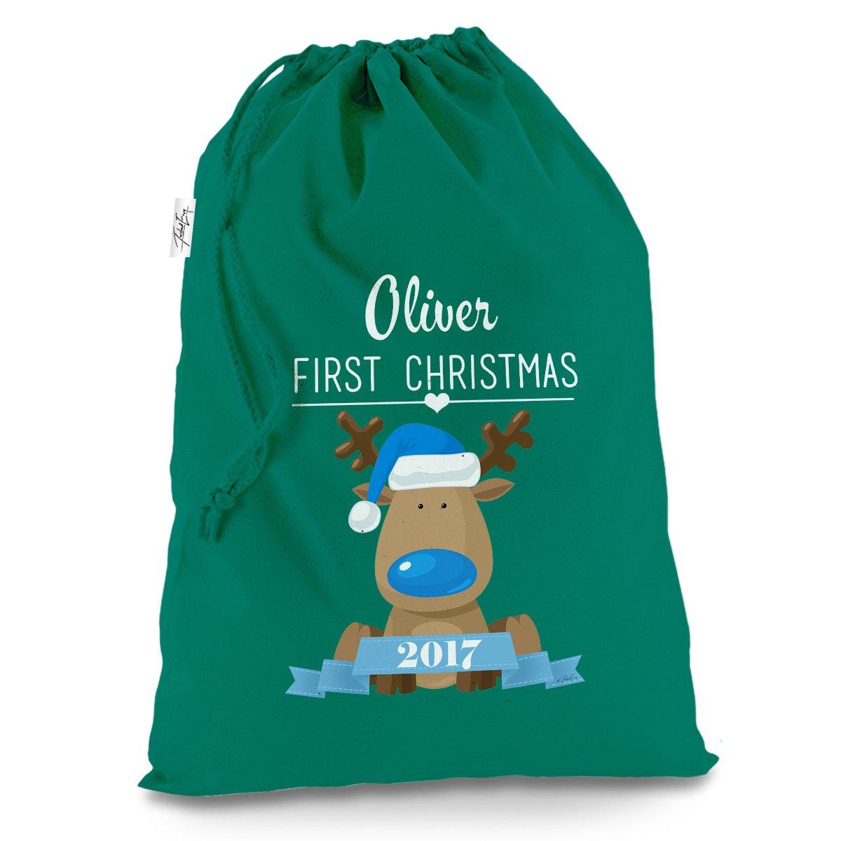 Blue Cute Reindeer First Christmas Large Green Christmas Santa Sack Mail Post Bag