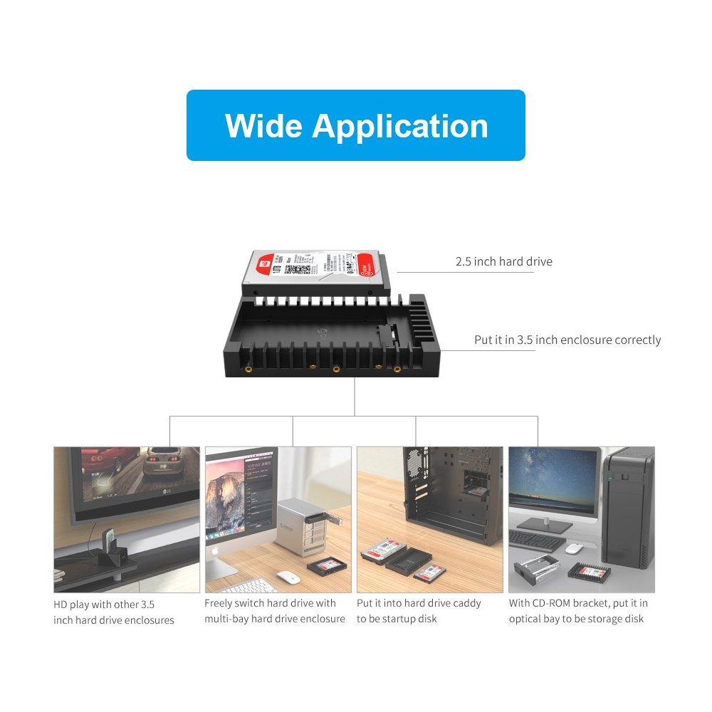 ELUTENG SSD Bracket 2.5-Inch SATA 3.0 HDD/SSD 2.5 to 3.5 Hard ...