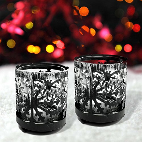 Rustic Christmas Decor - Set of 2 Antiqued Grey Metal Snowflake Votive Holders - Snowflake Design with White Snow Accents - Holiday Snowflake Decor (Votive Snowflake)