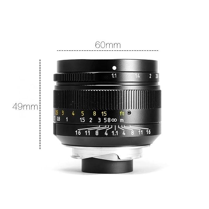 7 artesanos 50 mm f1.1 gran apertura vertical fijo lente de enfoque para cámaras Leica M-Mount y funda para objetivo Sony E-Mount cámaras con Caden bolsa ...