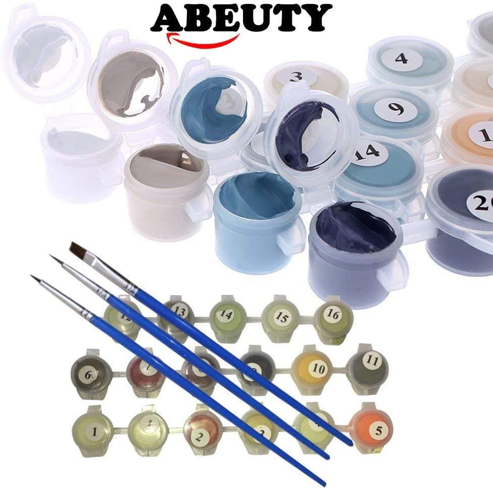ABEUTY DIY Paint by Numbers for Adults Beginner Trees, Wooden Framed