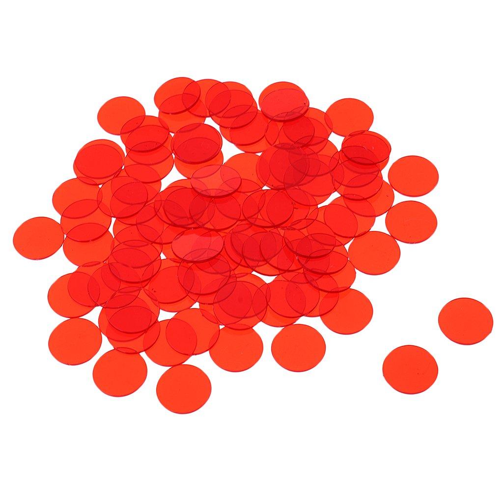 MagiDeal Lot 500pcs Jeton Pocker en Plastique Translucide Casino Loto Bingo pour Jeu de Société - Rouge