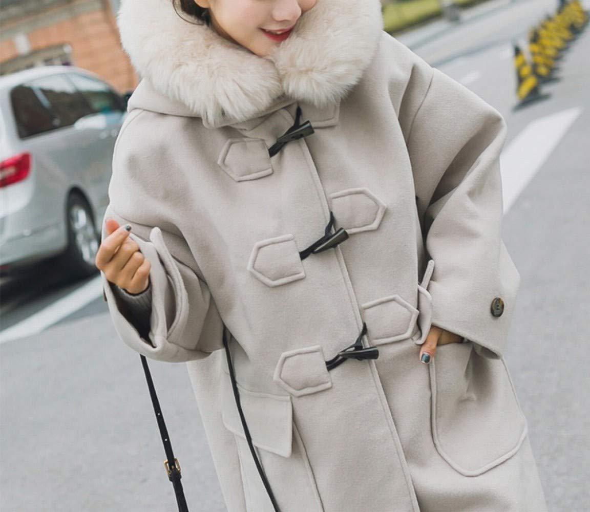 Beige XS CWJ Manteau Chaud des Femmes dans Le Long Manteau De Laine en Vrac Hiver, Manteau en Laine épais Col grand, Les Filles Tendance Maonie Manteau