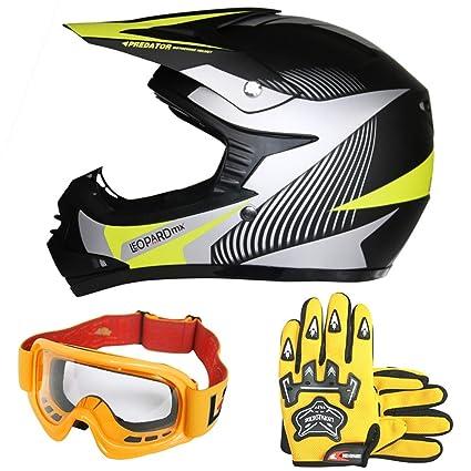 Amazon.es: Leopard LEO-X19 Casco de Motocross para Niños y Guantes ...