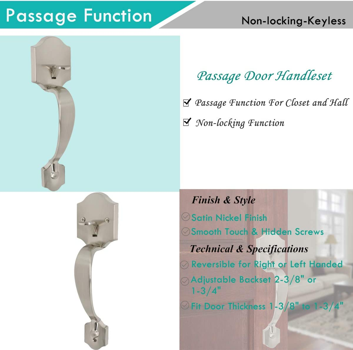 Classic Satin Nickel Entry Door Handle with Accent Wave Door Lever for Electronic Keypad with Drop Interior Left Handed Lever Camelot Trim Lower Half Handleset