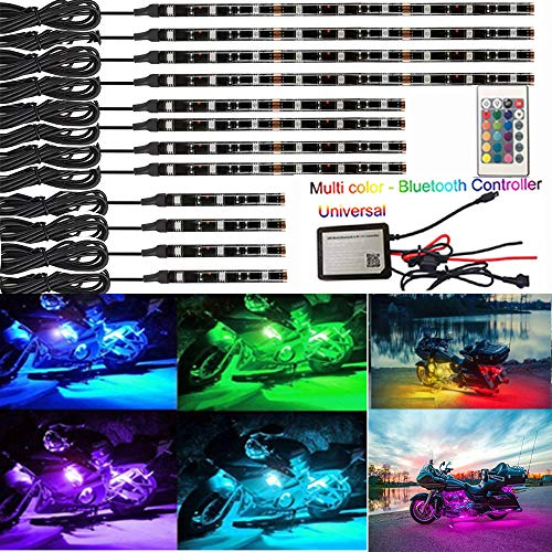 (NBWDY 12Pcs Motorcycle LED Light Kit Strips Multi-Color Accent Glow Neon Ground Effect Atmosphere Lights Lamp with LED Music Bluetooth & IR RGB Controller for motorcycle,ATV,golf Car (Pack of 12))