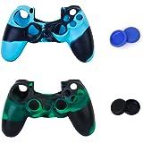 Générique 2pcs Etuis de Protection en Silicone + 2 Paires de Bouchons Capuchons de Joystick en Plastique pour Manette PS4 - Vert et Bleu Camo