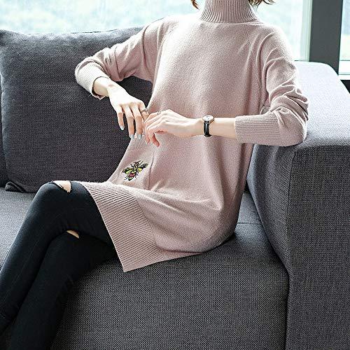 Lunga Waist Vestito Pullover Top Maglione Loose Xyujie Manica Maglia Slim Girocollo Pink Womens Pullers 0Enn7waq