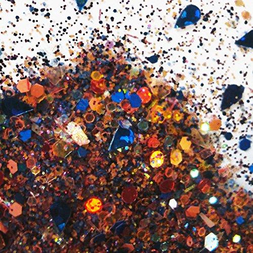 Custom & Fancy Approx 0.5 Teaspoon of Small Nail Art Glitter Confetti Made of Premium Mylar w/ Fun Colorful Shimmering Sapphire Pear Jewel & Dot Shapes Sparkle Mixture Design [Gold, Orange & Blue]