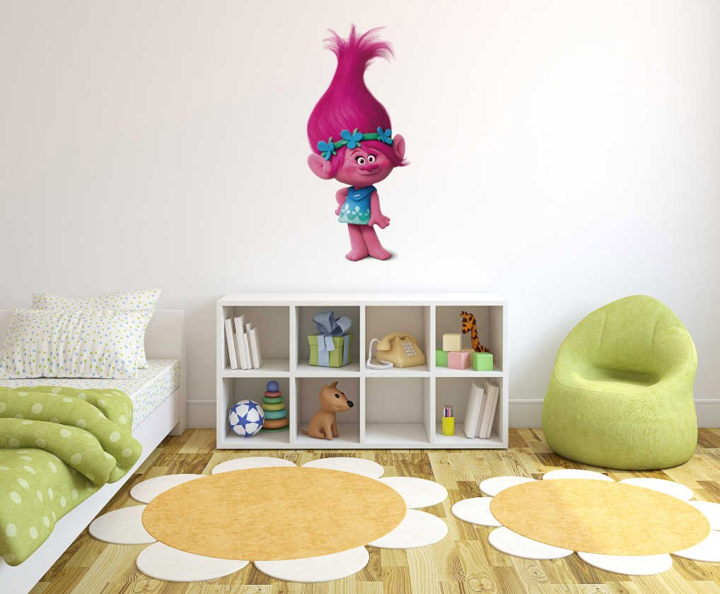 Princess Troll Wall Decal - Poppy Characters - Girls Wall Decal - Wall Decal for Home Nursery Decoration (Wide 25''x56'' Height Inches)