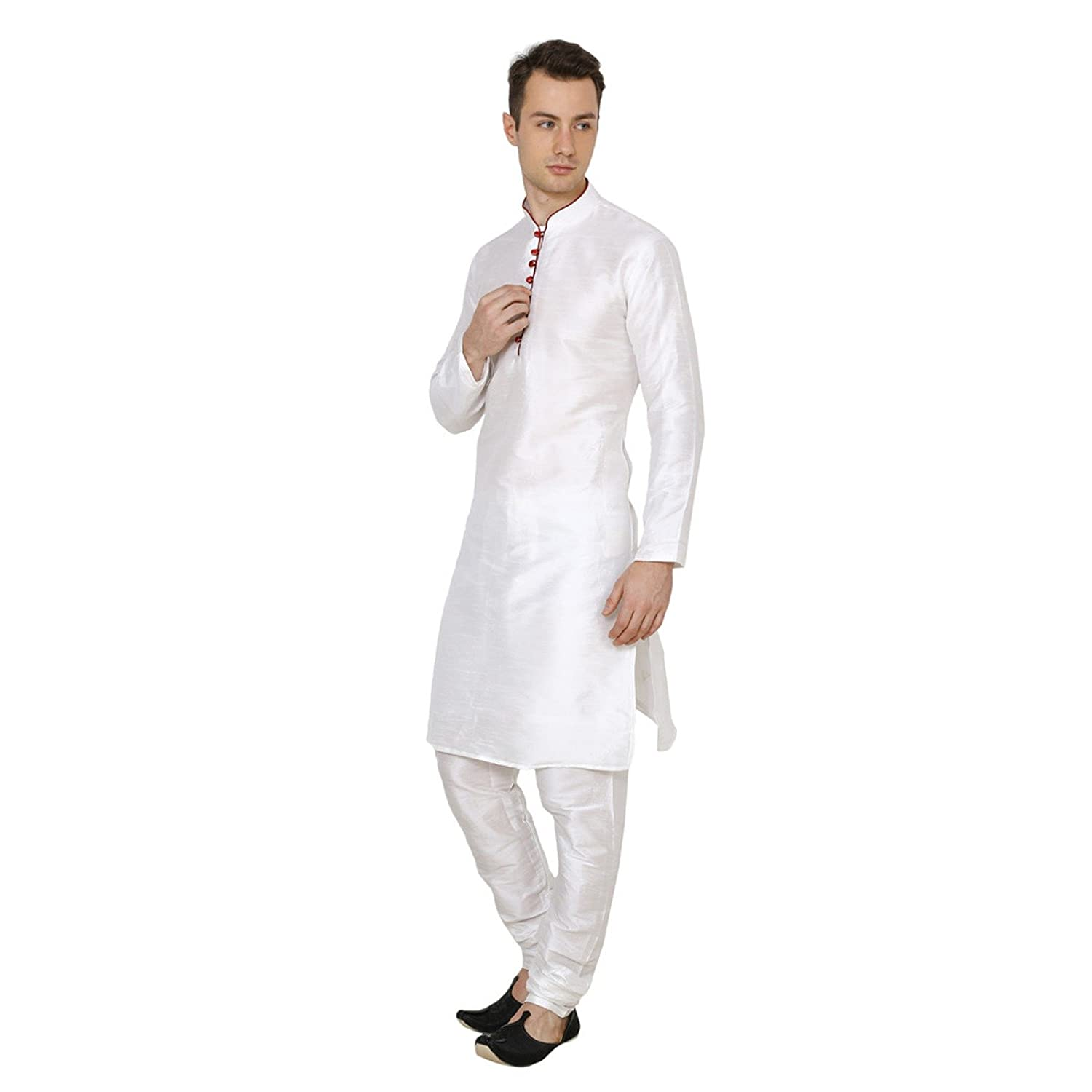 Royal Traditional Cotton Silk Churidar White Men'S Diwali Kurta Pajama Ethnic Wear PAR-RM-RK-KP-227