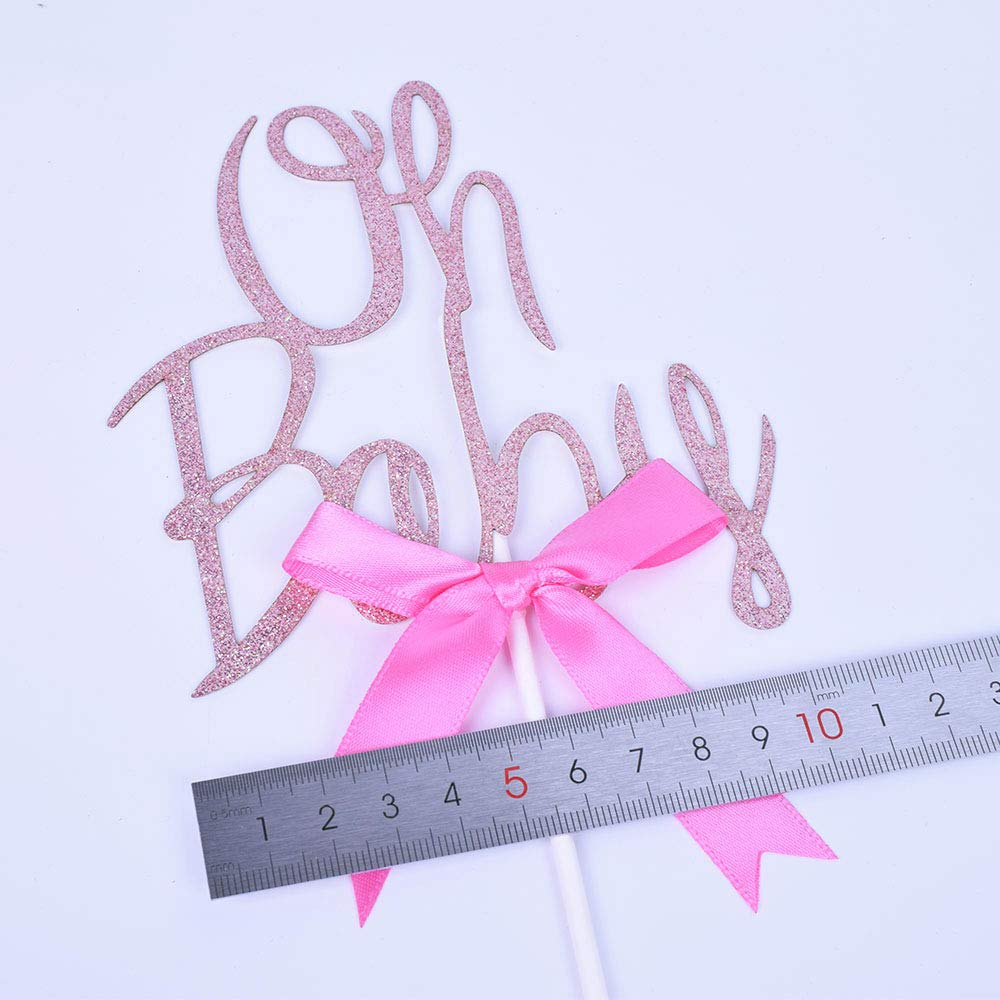Premium Quality SHAMIOh Baby Shower Cake Topper Decoration Rose gold Glitter Cardstock Topper For Baby Showers and Gender Reveal Parties for Boys and Girls
