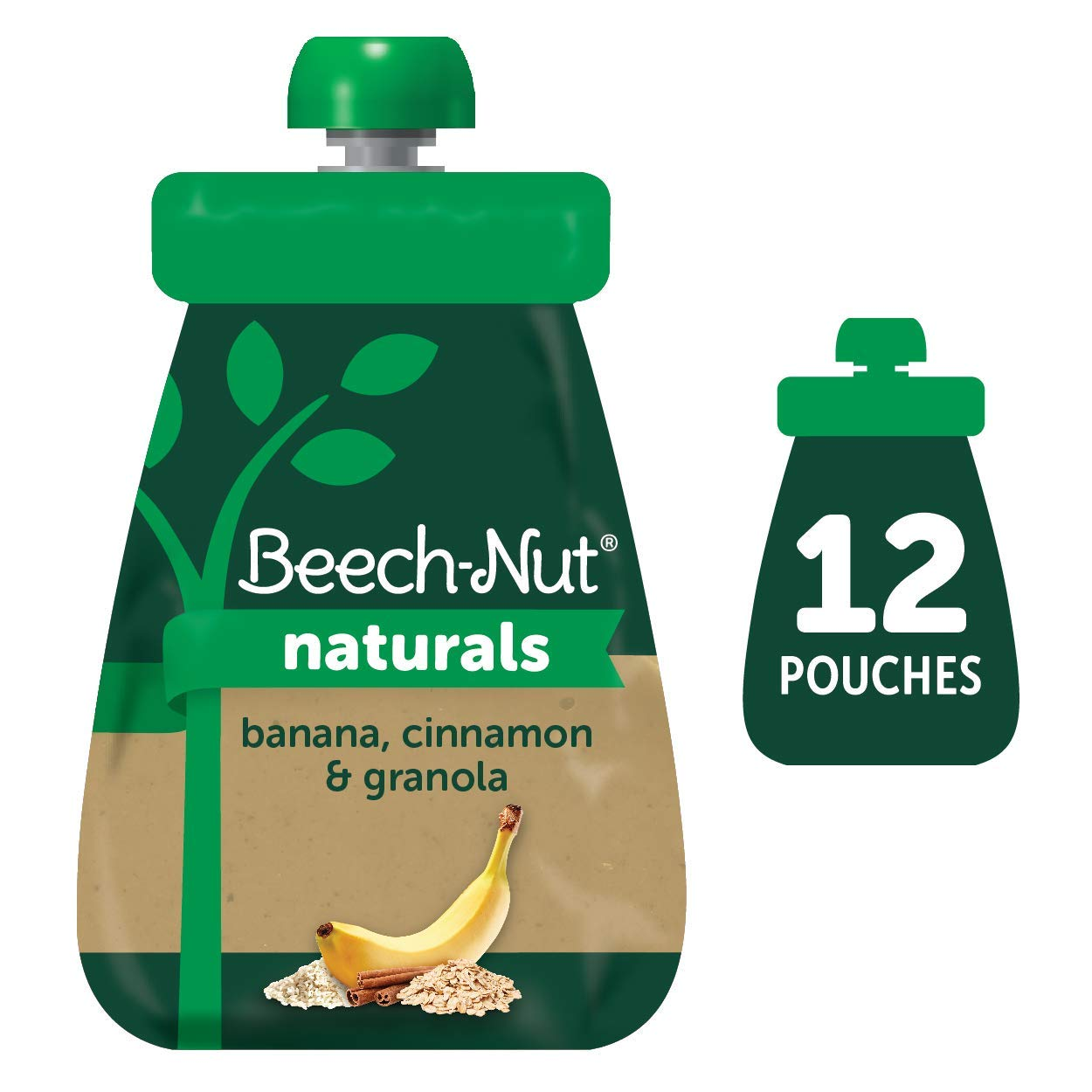 Beech-Nut Naturals Stage 2 Baby Food Pouch, Banana, Cinnamon & Granola, 12 Count, 3.5 oz Pouches