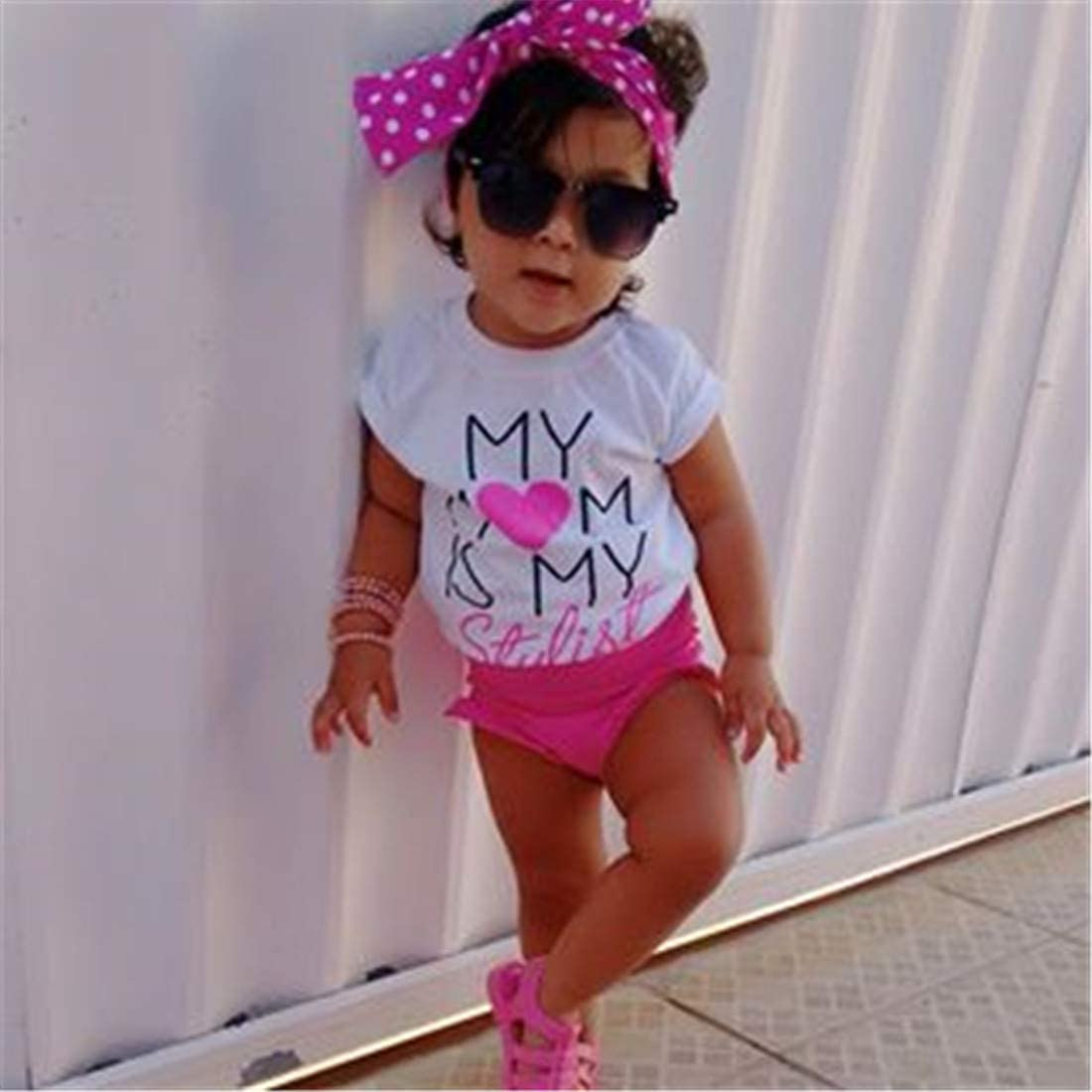 Mornbaby Summer Baby Girls Romper+Sequins Shorts Set Daddys Princess 3pcs Outfit Clothes