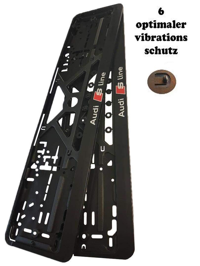 Nummernschildhalter Schwarz Nummernschilder mit Montage-Schrauben S line Kennzeichenhalter f/ür Auto 2 St/ück Set Kennzeichenhalterung Mit sline