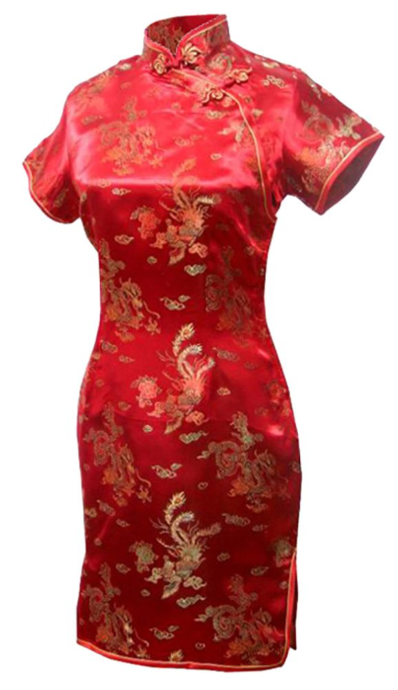 7Fairy Women's Vtg Red Dragon Mini Chinese Wedding Dress Cheongsam Size 6 US