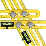 Qooltek Multi-Angle Measuring Ruler - Aluminum Alloy Template Tool - Great Layout Tool with A Storage Bag & 2 Level Bubbles(Yellow)