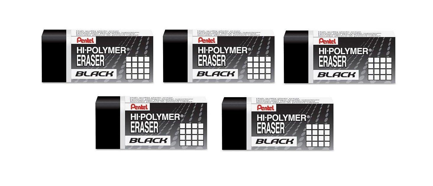 Pentel Ain Regular Size Eraser, Black (ZEAH06A) 5-Pack