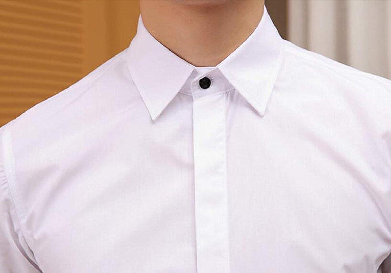 WSLCN Homme Chemise en Coton Manches Longues Slim Fit sans Repassage Chemises Casual Classique Business Respirant Couleur Unie