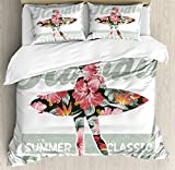 Ambesonne Hawaiian Duvet Cover Set King Size, Tropical Hawaii Hibiscus Surfing Girl Silhouette Surfboard Retro Themed Artprint, Decorative 3 Piece Bedding Set with 2 Pillow Shams, Coral Green