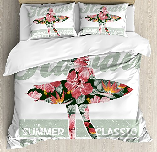 Hawaiian Comforter (Ambesonne Hawaiian Duvet Cover Set Queen Size, Tropical Hawaii Hibiscus Surfing Girl Silhouette Surfboard Retro Themed Artprint, Decorative 3 Piece Bedding Set with 2 Pillow Shams, Coral Green)