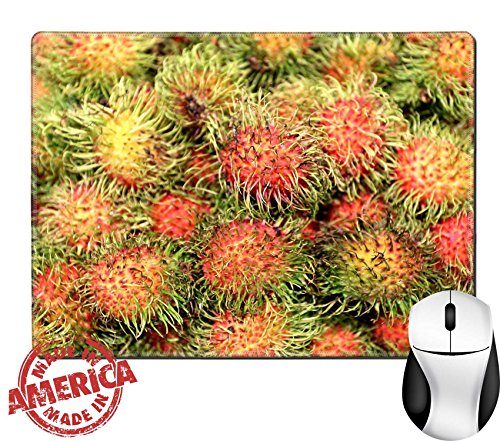 """Luxlady Natural Rubber Mouse Pad/Mat with Stitched Edges 9.8"""" x 7.9"""" ID: 40323187 Delicious tropical fruit rambutan photographed close up"""