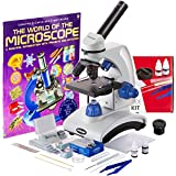 AmScope AWARDED BEST STUDENT MICROSCOPE 40X-1000X Dual Light Optical Glass Lens All-Metal Framework Student Microscope + Microscope Prepared and Blank Slides
