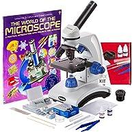 AmScope AWARDED 2016 BEST STUDENT MICROSCOPE 40X-1000X Dual Light Optical Glass Lens All-Metal Framework Student Microscope + Microscope Prepared and Blank Slides